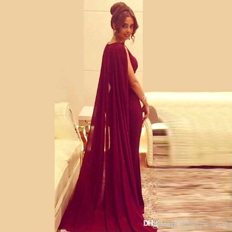 2017 Nouveau Sexy Arabe Burgduny Coiffes De Soirée Sirène Robes De Soirée En Satin Volants Etage Longueur Formelle Robes De Bal