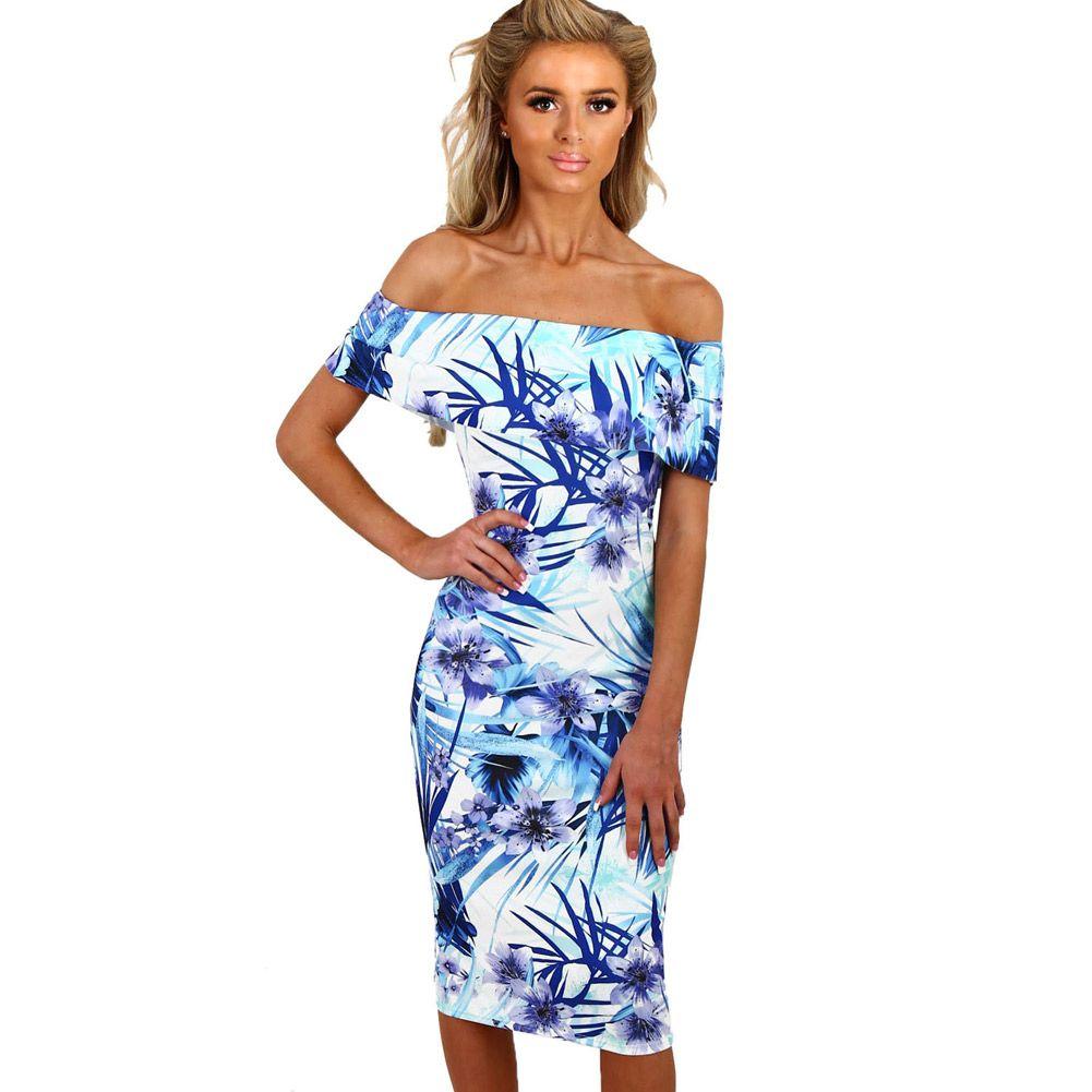 Summer Off Shouler Dresses Blue And White Print Floral Bardot Bodycon Midi  Dress Vestidos Estampado LC61536 Off Shouler Dresses Bodycon Midi Dress  Women s ... 6ea6466c0248