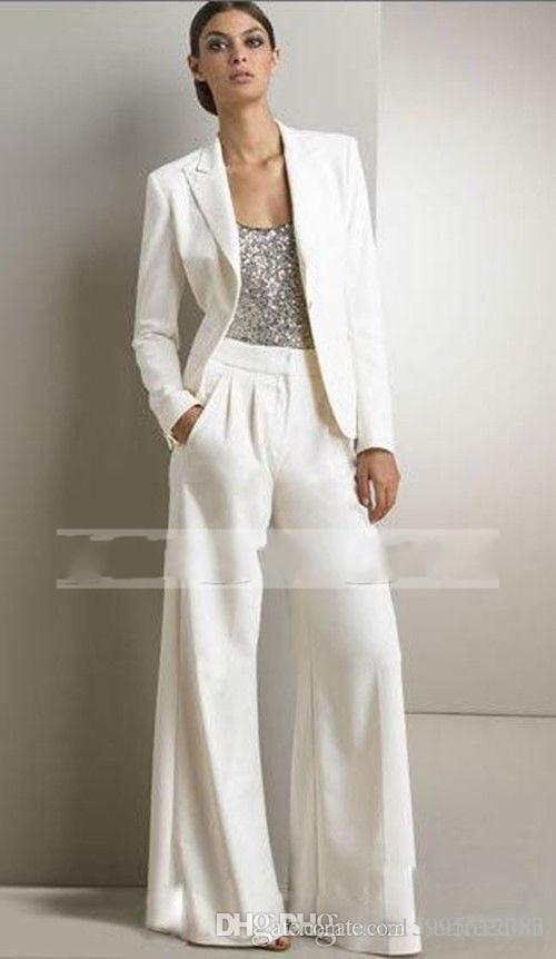 2017 Bling Sequins Ivory White Pants Suits Mother Of The