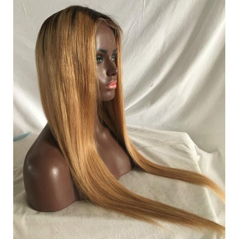 2020 Sıcak Satış Promosyon Için Ombre Dark Roots 27 # Bal Sarışın Tam Dantel Peruk / Dantel Ön Peruk 100% İnsan Saç