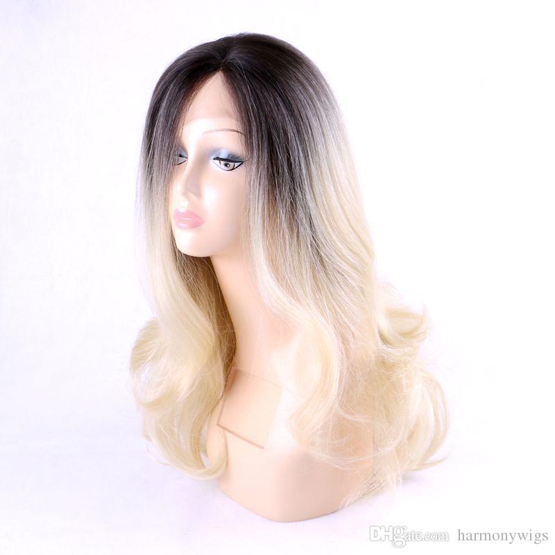 합성 레이스 프론트 가발 26inch ombre blonde 곱슬 머리 가발 Kanekalon 가발 내열 섬유 가발