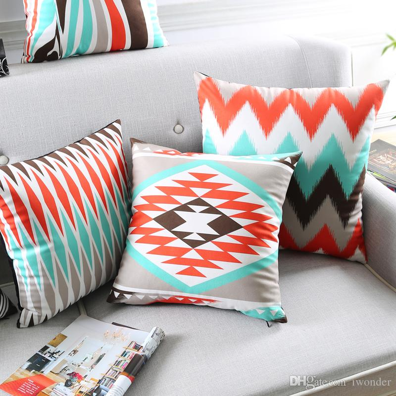 Zebra Stripe Cushion Cover Geometric Supersoft Pillow Cover Red Blue ... 7688b7e10