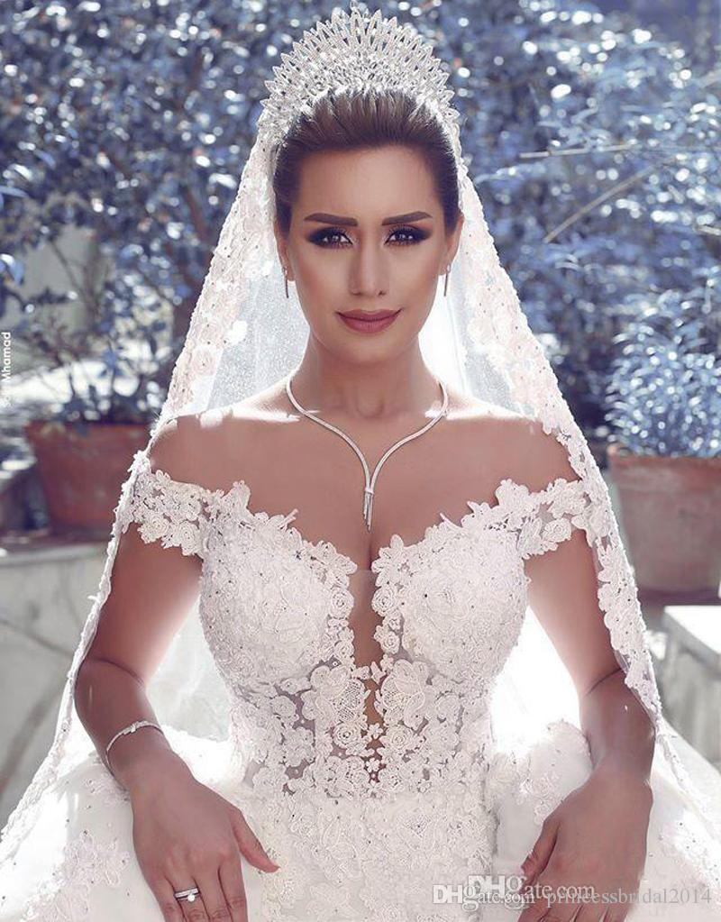 Arabic Wedding Dresses 2016 Gorgeous Off Shoulder White/Ivory Tulle ...