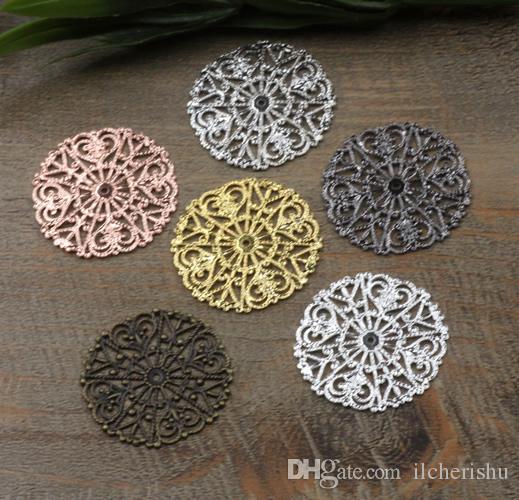 31mm antique bronze/silver/rose gold/gun black Copper filigree flower charms for jewelry making, handmade metal bracelet pendants findings