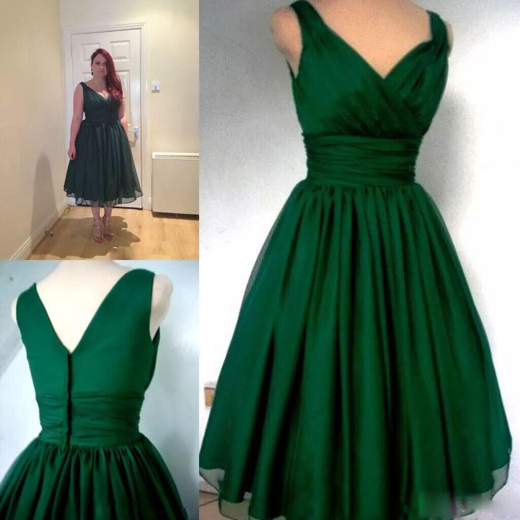 Großhandel Vintage Smaragdgrün 1950er Jahre Prom Kleider Tee Länge ...