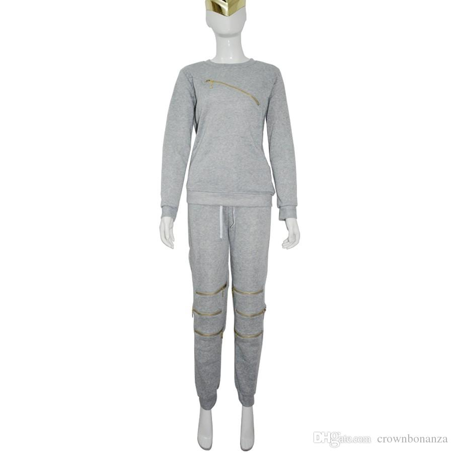 Fashion Zipper Hollow Out Women Tracksuits Suit ladies O-Neck Long sleeve Womens Hoodies Set Sportwear Moletom Feminino