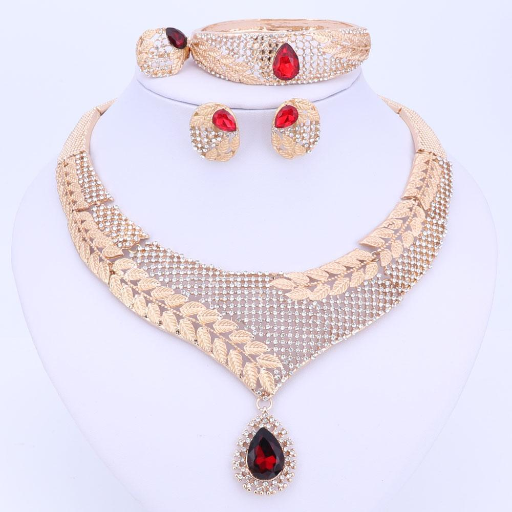 Dubai Crystal Jewelry Set Luxury Gold Color Big Nigerian Wedding African Beads Jewelry Set Costume Design For Women