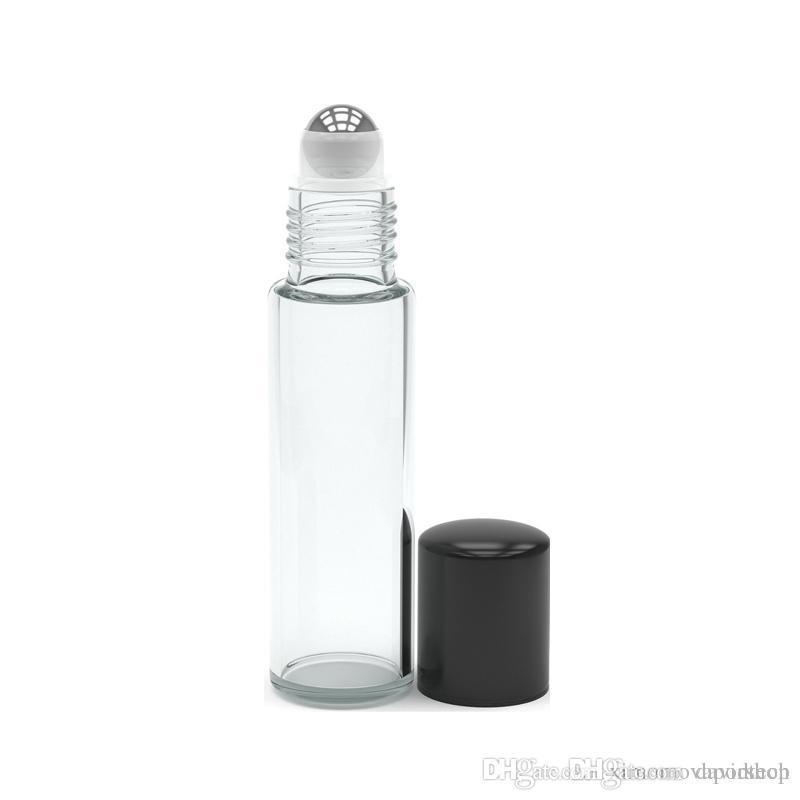 Heiße / 10 ml leere Rolle auf Glasflaschen [EDELSTAHLROLLE] Clear-10ml nachfüllbare Farbe Roll On für Duft ätherisches Öl