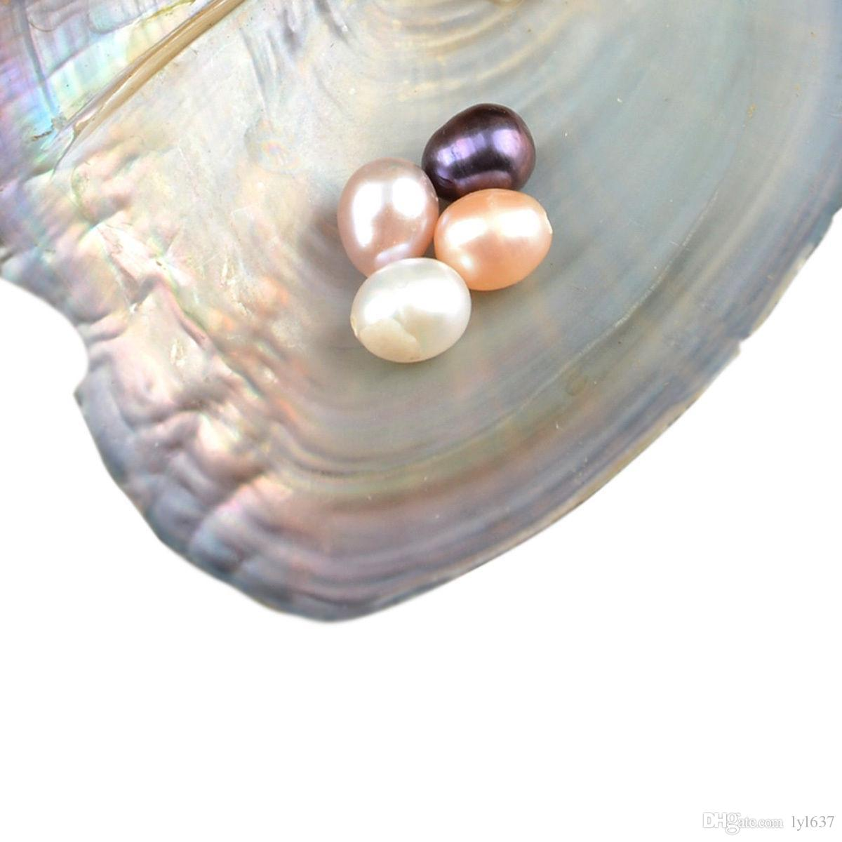 2017 Água Doce Ostra Pérola Natural Oval Rodada Pérola Solta 7-10mm DIY Decorações Do Presente Embalagem A Vácuo Atacado Rosa Branca Purpel Preto