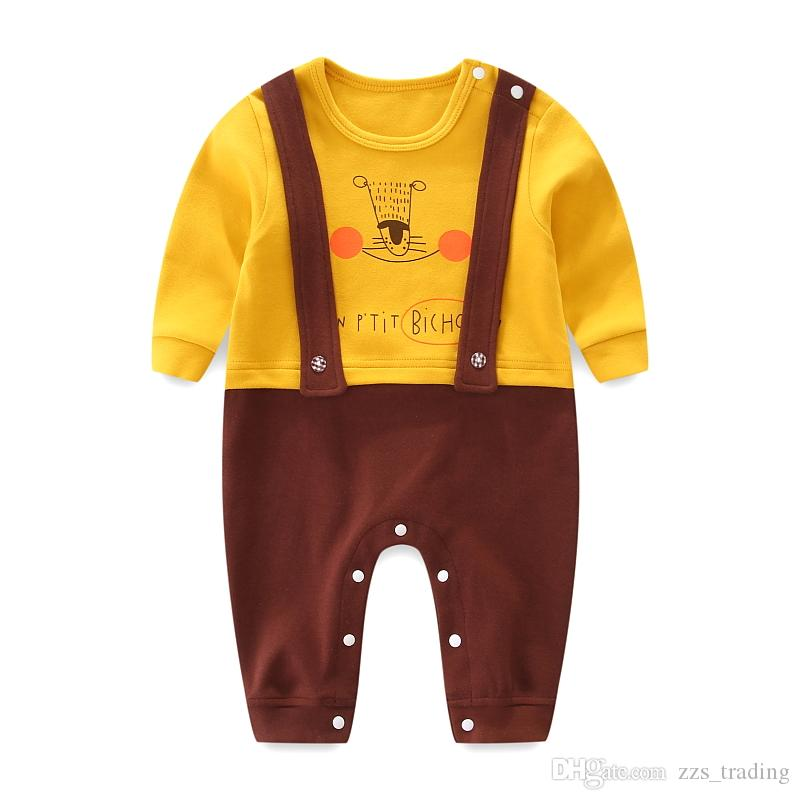 e7edc0d46a2d5 2018 Autumn Spring Baby Romper Newborn Jumpsuit Boy Clothes long sleeve  Baby Girl Clothing Cute Fake Two Piece Overalls Infant Clothing