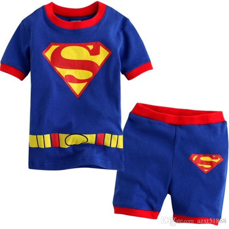 Hot Sale Sleepwear Kids Sets Short Sleeve Cartoon Boy Pajamas Set For Baby Sleep Wear Clothing 2-7 Year nightgown Pyjamas