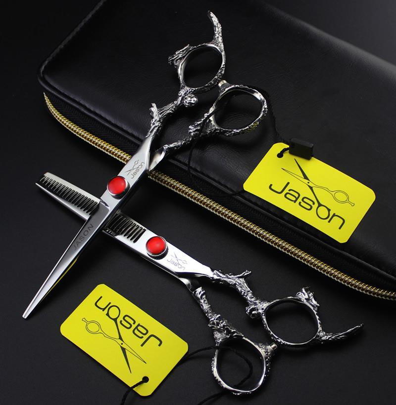 6.0 Inch Jason Cutting Thinning Scissors Professionale Forbici parrucchiere Kit JP440C Hot Barber Scissors Hair Shears Strumenti barbiere, LZS0631