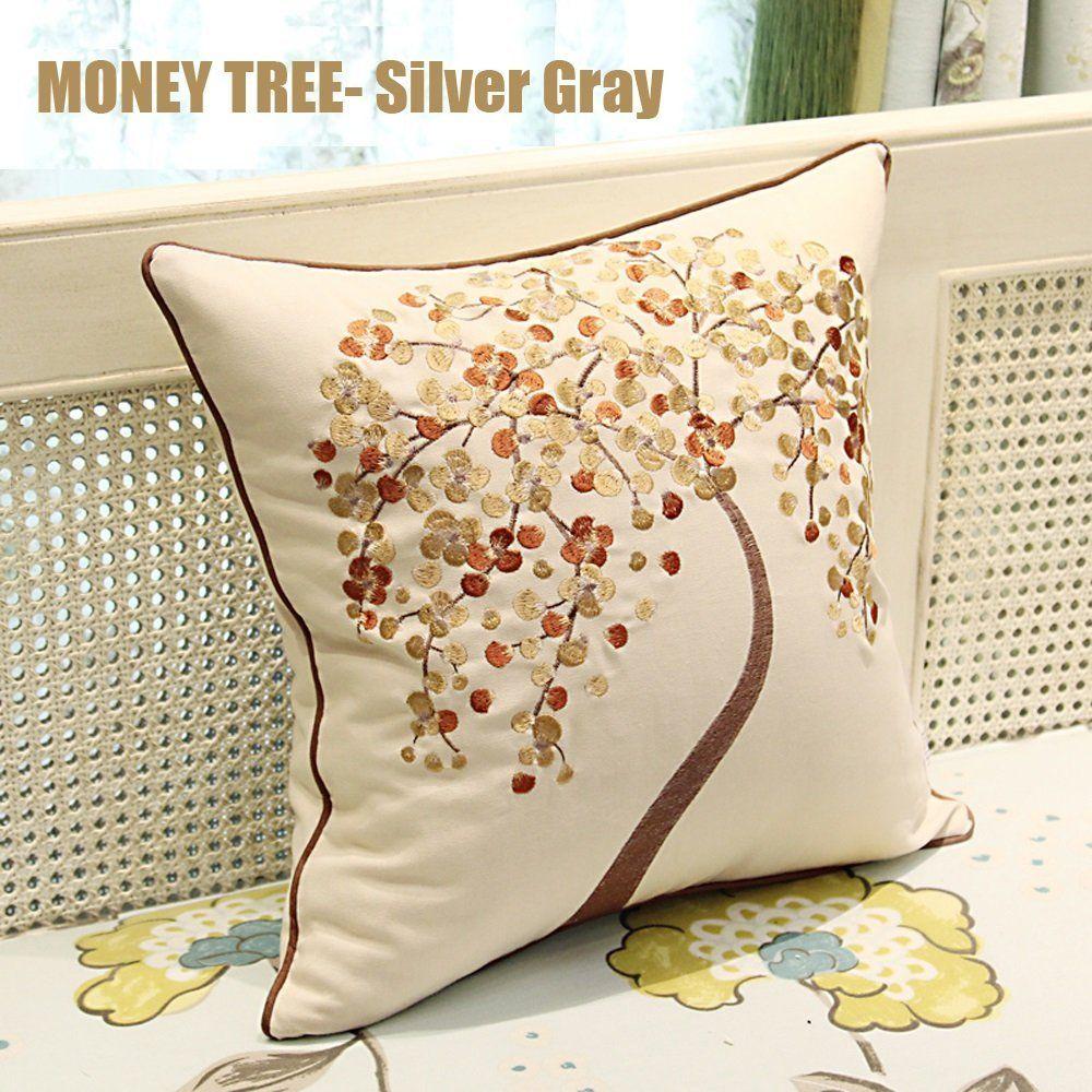 45cmx45cm Elegent Embroidered Money Tree Zuodu Cotton Linen Decorative Cushion Cover Throw Pillow Cover Cushion Case Pillow Case