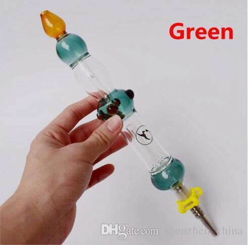 Consegna veloce! Mini Kit con 14 millimetri di GR2 titanio Nails Oil Rig concentrato Honey Dab Straw bong di vetro