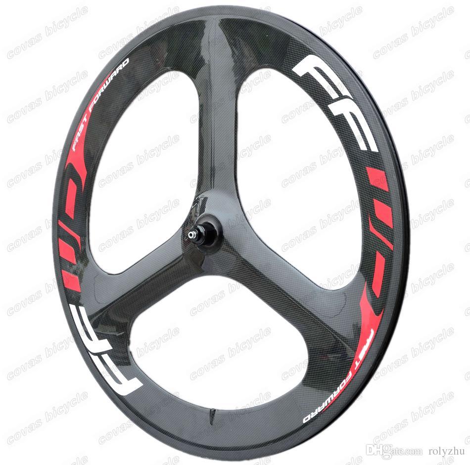 Fast Forward 700C bicicleta de estrada tri-raio rodas de carbono 56mm clincher roda de engrenagem fixa de alta qualidade clincher para o Tempo / Trial Bike Roda