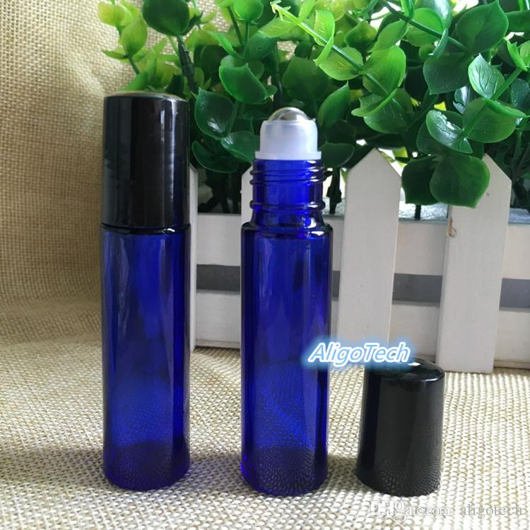 10ml Blue Glass Roller Bottles With SS Ball for Essential Oil Aromatherapy Perfumes and Lip Balms Free DHL Shipping Glass Make Up Bottles