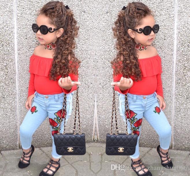 77b861002 2018 Girls Childrens Clothing Sets Red Slash Neck Tops Rose Blue ...