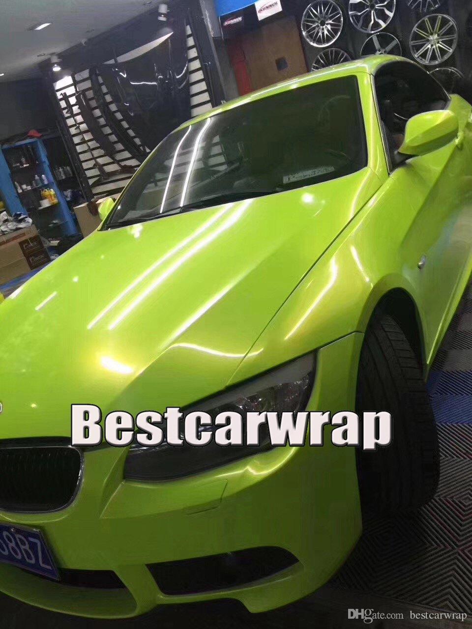 fluorescent lemon Gloss shift to gold metallic Vinyl Wrap For Car Wrap Film Magic glossy 1080 Union Covering foil Size:1.52*20m 5x67ft