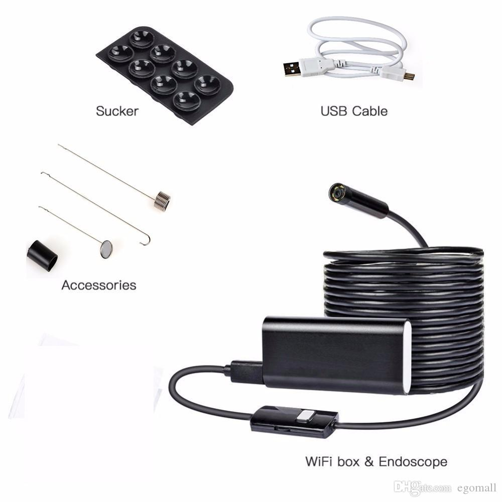 Wholesale-Wifi Wireless Endoskop für iOS Android Telefon Iphone PC Endoskop HD 8mm 1M Tube wasserdichte Micro-Mini-Kamera