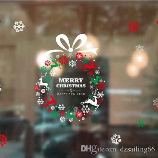 Christmas window sticker 2017 new arrival 16 styles glass wall showcase sticker decal decor sticker christmas decoration vinyl window stickers for cars
