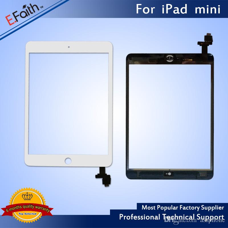 EFaith 품질 디지타이저를 들어 아이 패드 미니 터치 스크린 + IC의 홈 버튼 + 접착제 교체 무료 DHL 배송