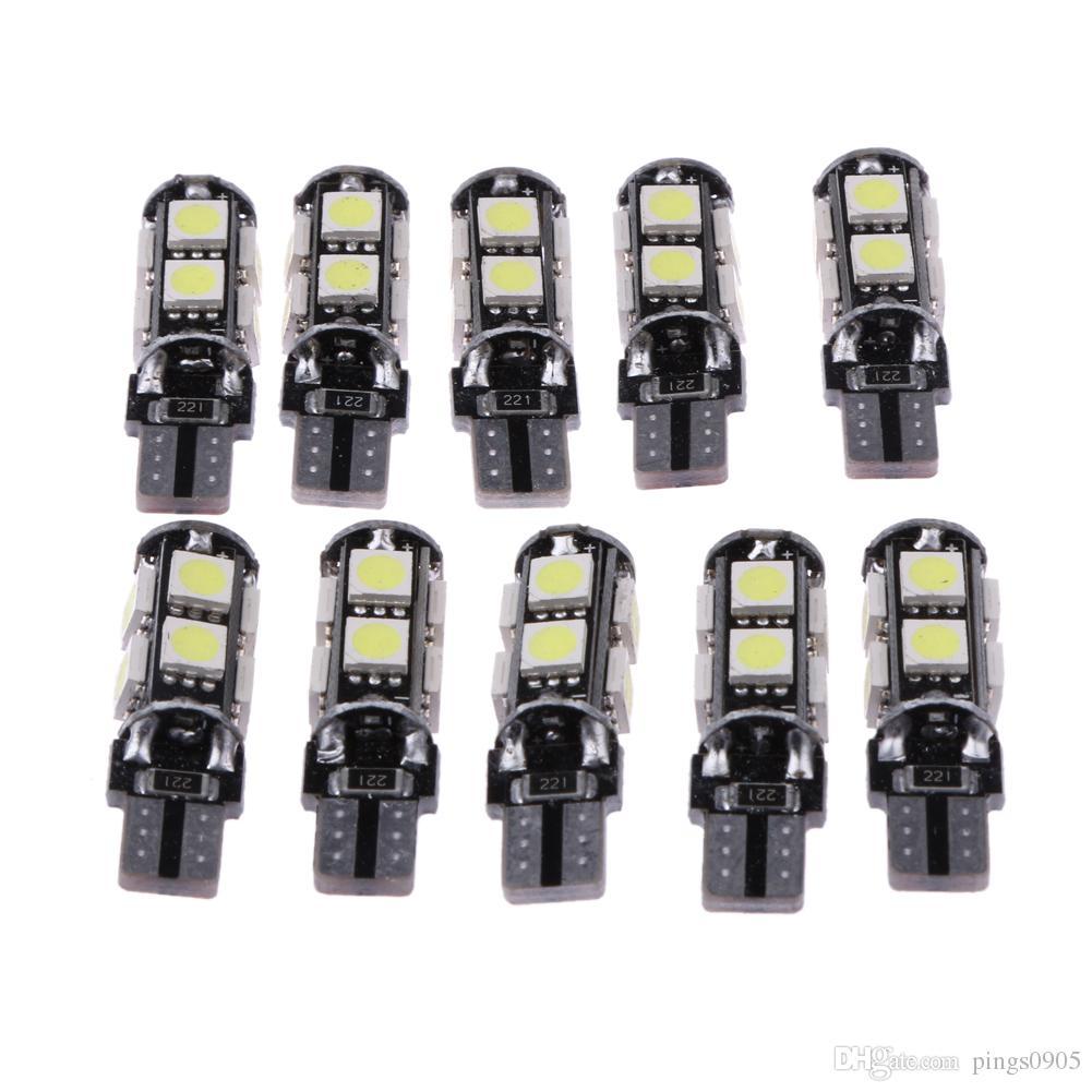 10 Adet Led İç Araba Işıkları W5W 194 T10 5050 Çözme Ampul 9SMD Otomobiller Gövde / Okuma Lambası Park / Plaka Işık