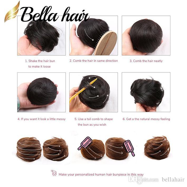 100% Virgin Human Hair Bun Maker Włosy Pączek Chignon Extensions Włoski Różne Kolor Bellahair USA Wysyłka