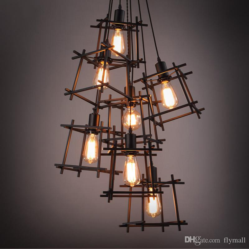 American Loft Vintage pendant light Personality Wrought Iron lights Edison nordic lamp industrial cage lamp retro hanging lighting fixtures