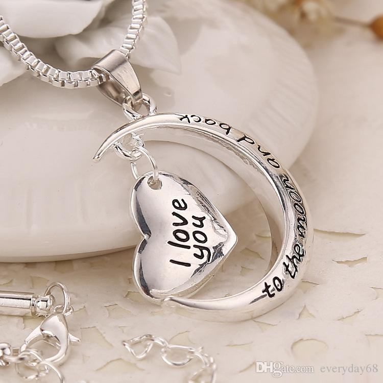 father's day gift Statement Polish Shinny Silver Necklace I love you to the moon and back Pendent Necklace mothers day gift