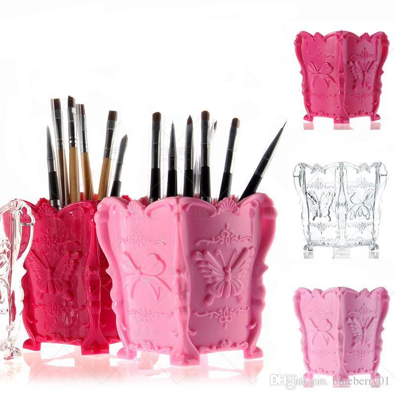 Tırnak Masaüstü Saklama Kutusu 3 renkler Lehçe Kalem Fırçalar Kutusu Konteyner Manikür Tırnak Masaüstü Aracı