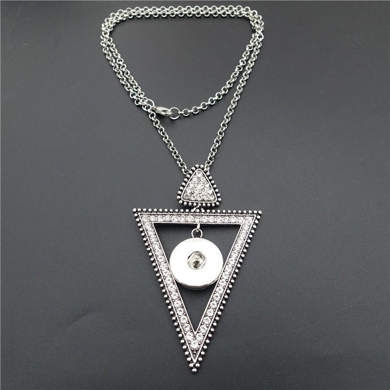 Vintage Kristall Strass Dreieck Noosa Chunks Metall Ingwer 18 MM Druckknöpfe Lange Halskette Schmuck Großhandel
