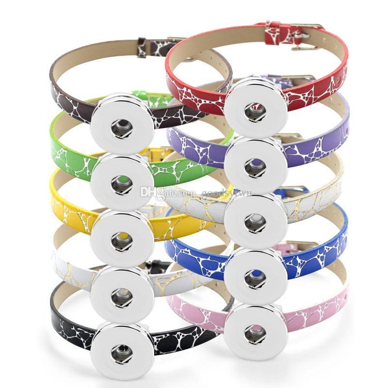 NOOSA 18MM Snap button Bracelet Bangle 8MM PU Leather Wristband DIY Accessory Bracelet Fit Snap buttons & Slide charms LSBR04