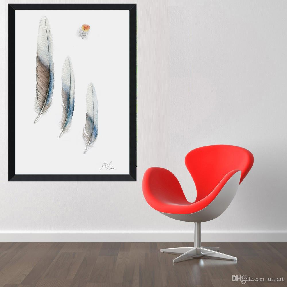 Europe Style Blue Grey Feather Canvas Painting Home Decor Canvas Wall Art Picture Digital Art Print for Living Room