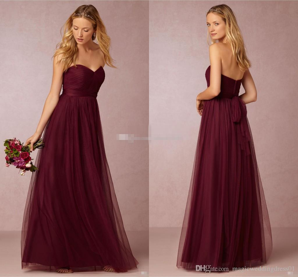 a01613b1832 Dark Cherry Tulle Long Bridesmaids Dresses Pleated Sweetheart Neckline A  Line Ruched Floor Length 2016 Burgundy Wedding Maid Of Honor Gowns Vintage  ...