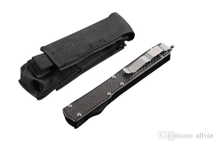 Couteau tactique automatique à extrémité élevé de couteau D2 double poignée de fibre de carbone de lame de satin de bord chasse à l'extérieur de vitesse de survie de poche d'EDC avec le sac en nylon tactique