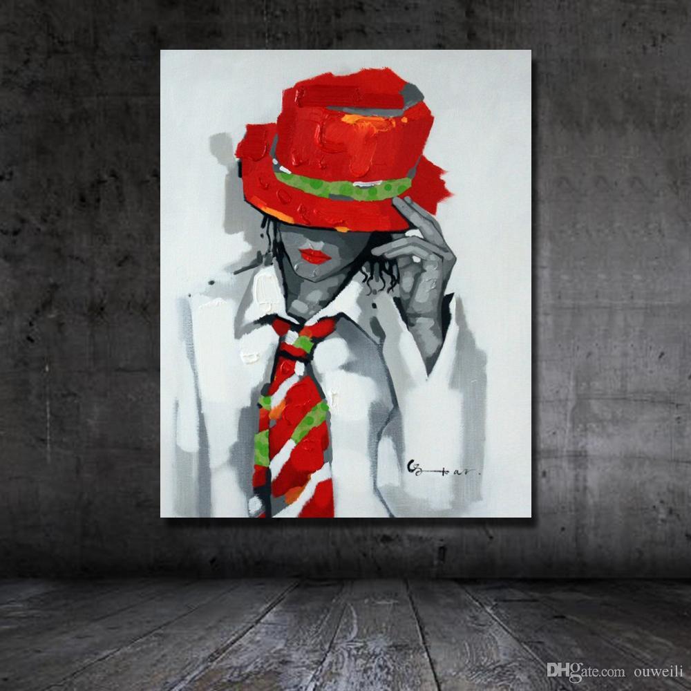Spedizione gratuita handmade pittura a olio pop art figura indossare cappello rosso bel uomo immagini opere d'arte pittura ad olio acrilico