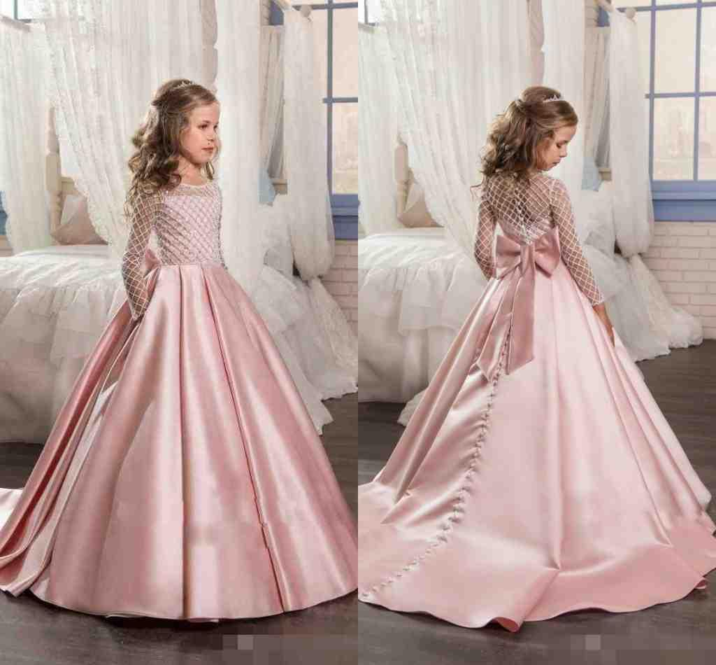 Real Princess Long Sleeves Flower Girls Dresses With Bow ... - photo#20