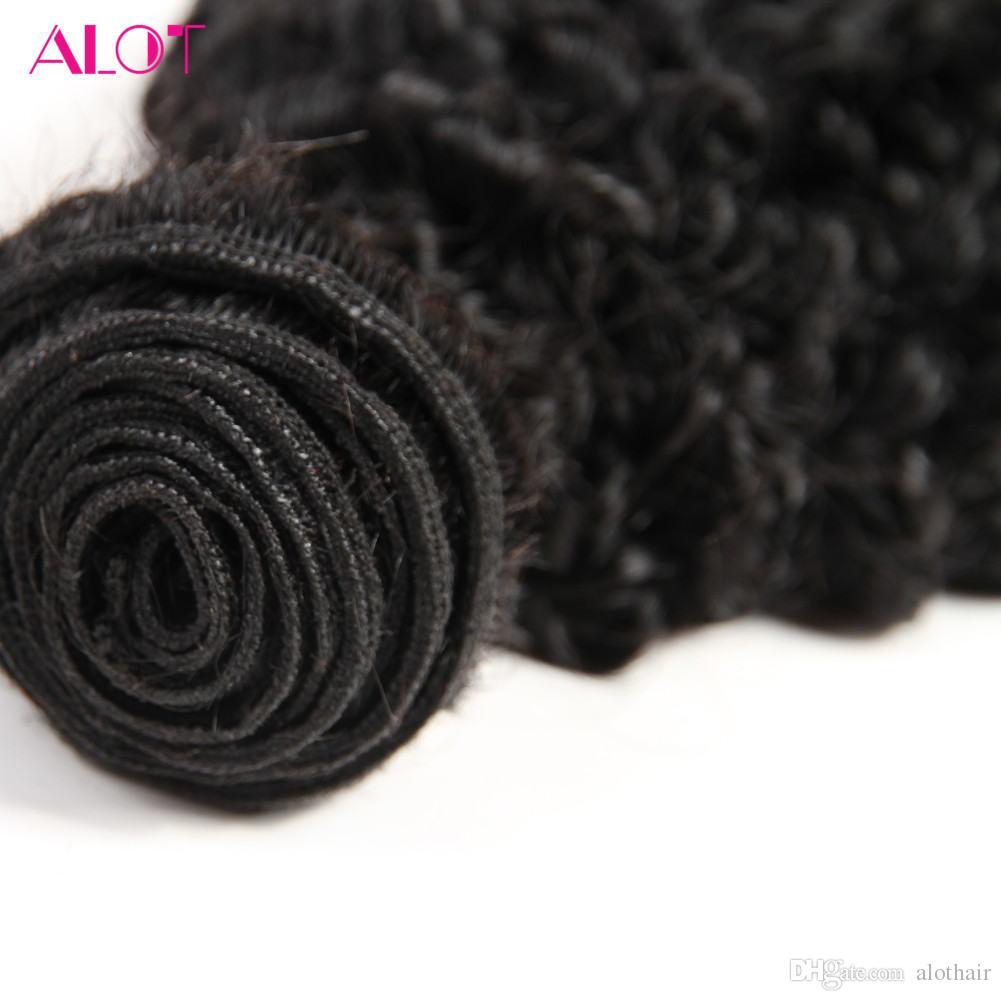 ALOT Indian Hair Bulk Kinky Curly Weave 3 Bundles Mix Length 100% Human Hair Bundles 100% Unprocessed Natural Color Extensions 8-28inch