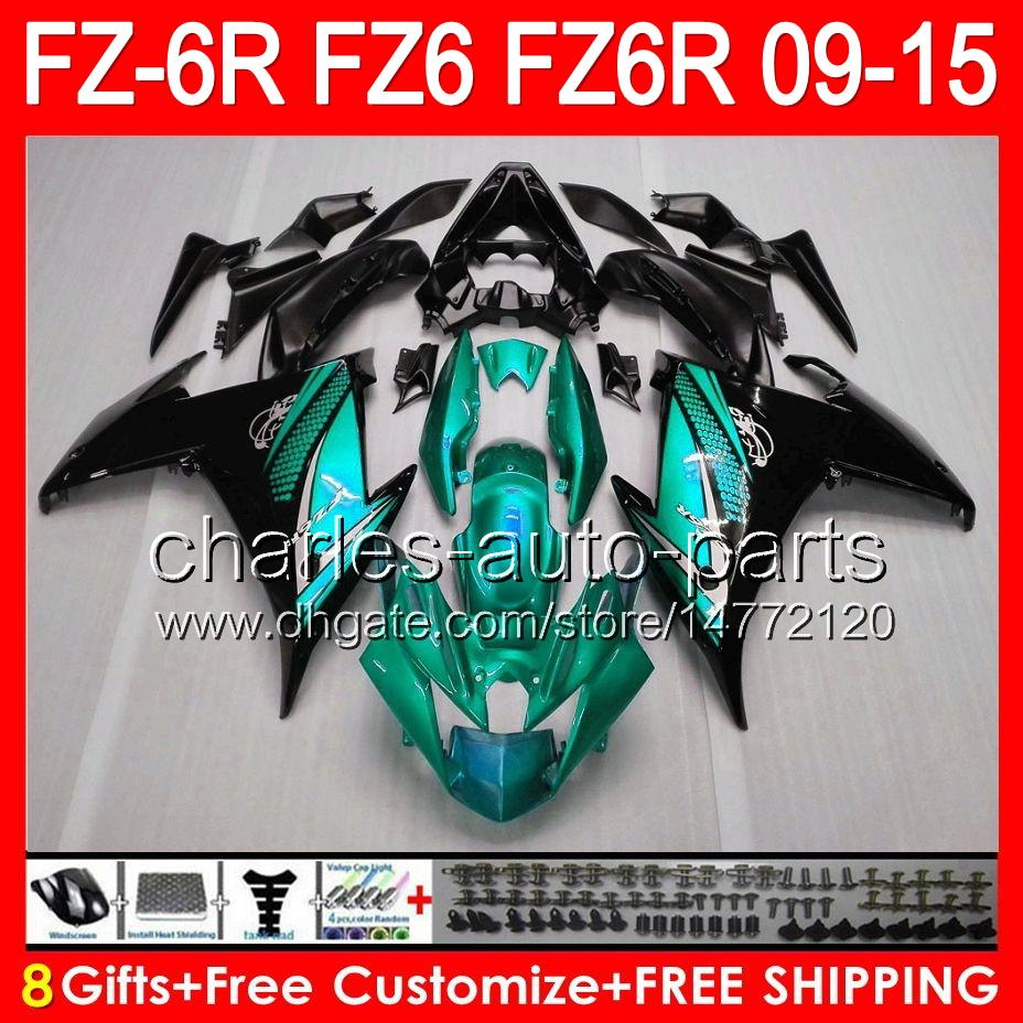 8gifts For YAMAHA FZ6R 09 10 11 12 13 14 15 FZ6N FZ6 gloss cyan 89NO71 FZ-6R FZ 6R 2009 2010 2011 2012 2013 2014 2015 TOP cyan black Fairing