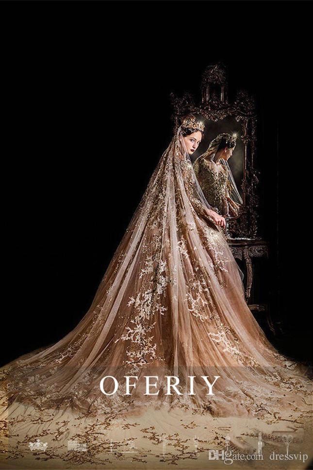 Elie Saab Luxus Dubai Spitze Ballkleid Brautkleider Gericht Königin Brautkleider Bling Kristall Perlen Perle Applique Nahen Osten Brautkleid