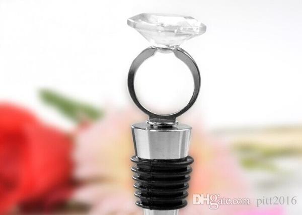 100 pz / lotto Home Pratica Favore di Partito Anello di Diamanti di Cristallo Vino Stopper Nuziale Doccia Battesimo Festa Nuziale Regali di Favore # 001