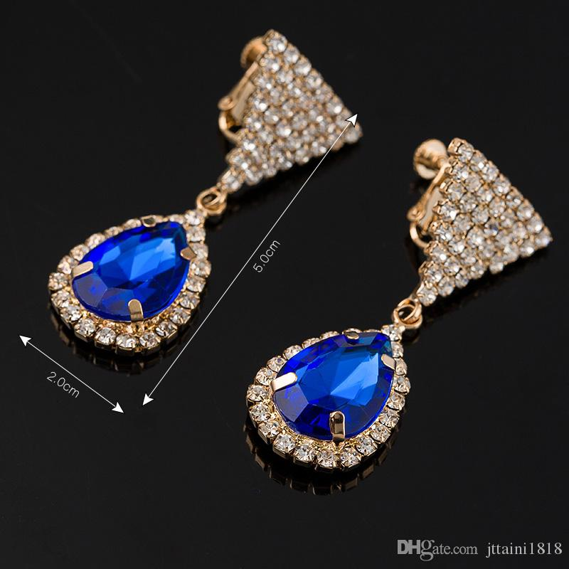 Fashion tricolor sparkling crystal earrings women's fashion accessories jewelry genuine popular decorative gems #E304