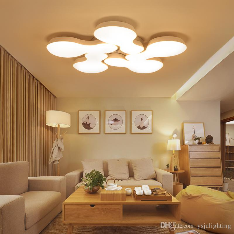 2018 2017 led ceiling lights living room lights petal acrylic shade simple restaurant balcony aisle bedroom three color dimming rc dimming round from - Living Room Led Ceiling Lights