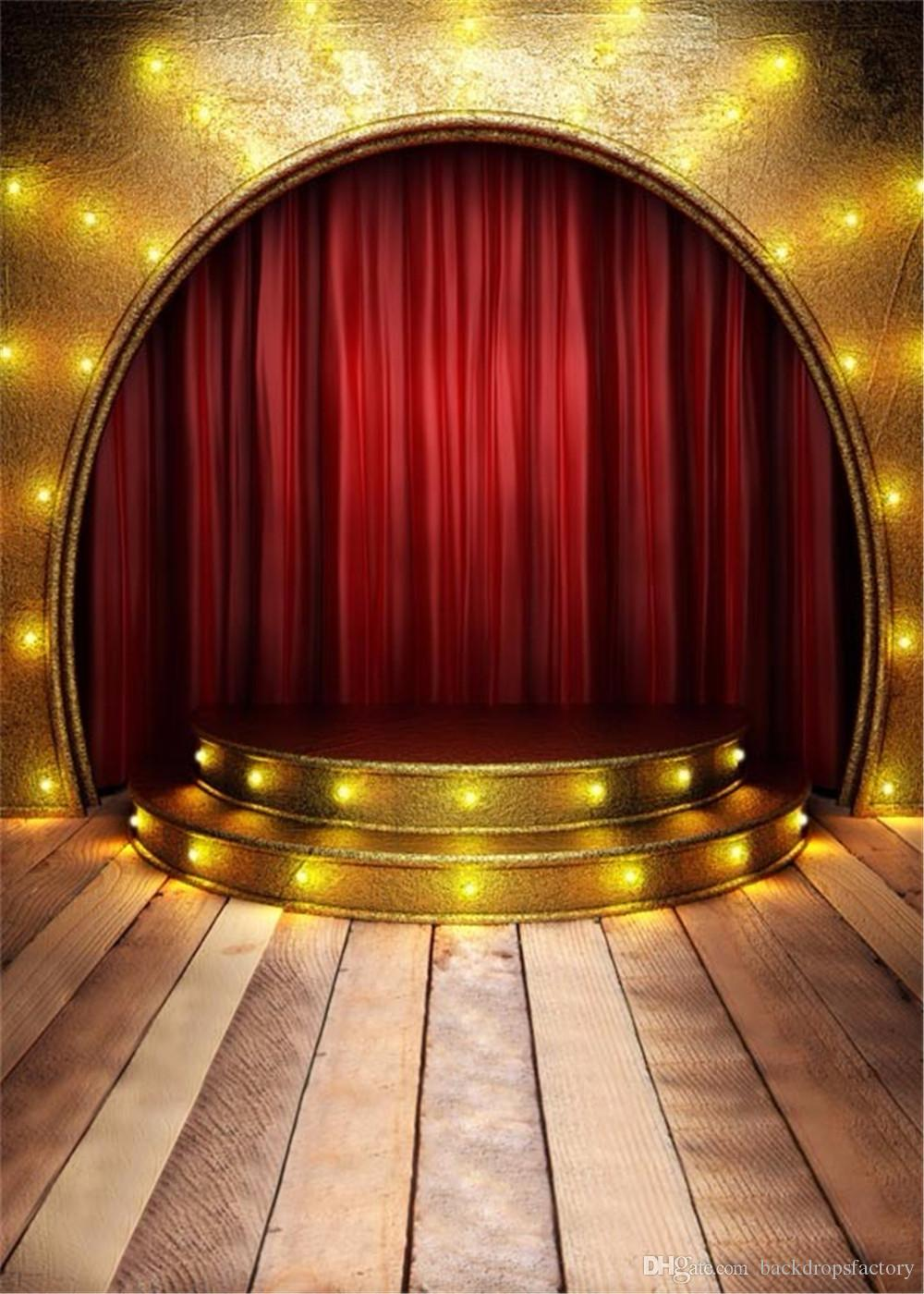 Gold Wall Red Curtain Arched Stage Photography Background Wood Floor Stairs Back Drops With Light Children Kids Studio Photo Booth Backdrop Party