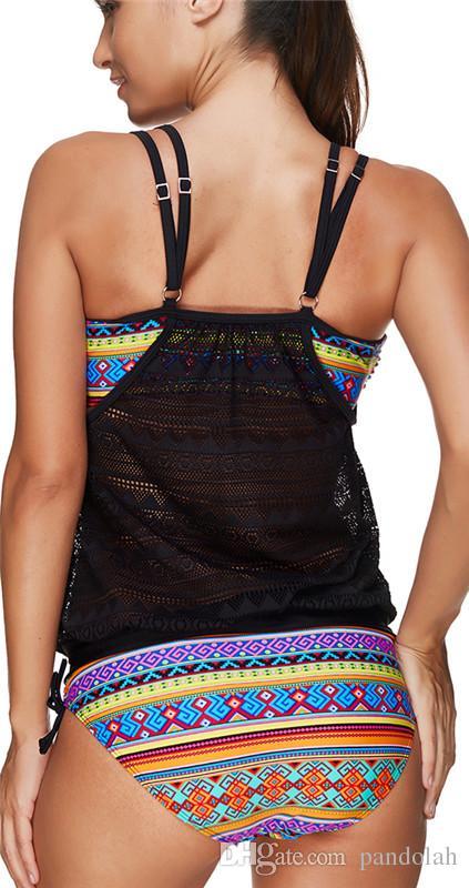 2017 Sexy Frauen Tankini mit kurzen Zwei-Stücke Sport Badeanzüge GYM Kontrastfarbe Plus Size Badeanzüge Bademode Push-Up Mesh Patchwork