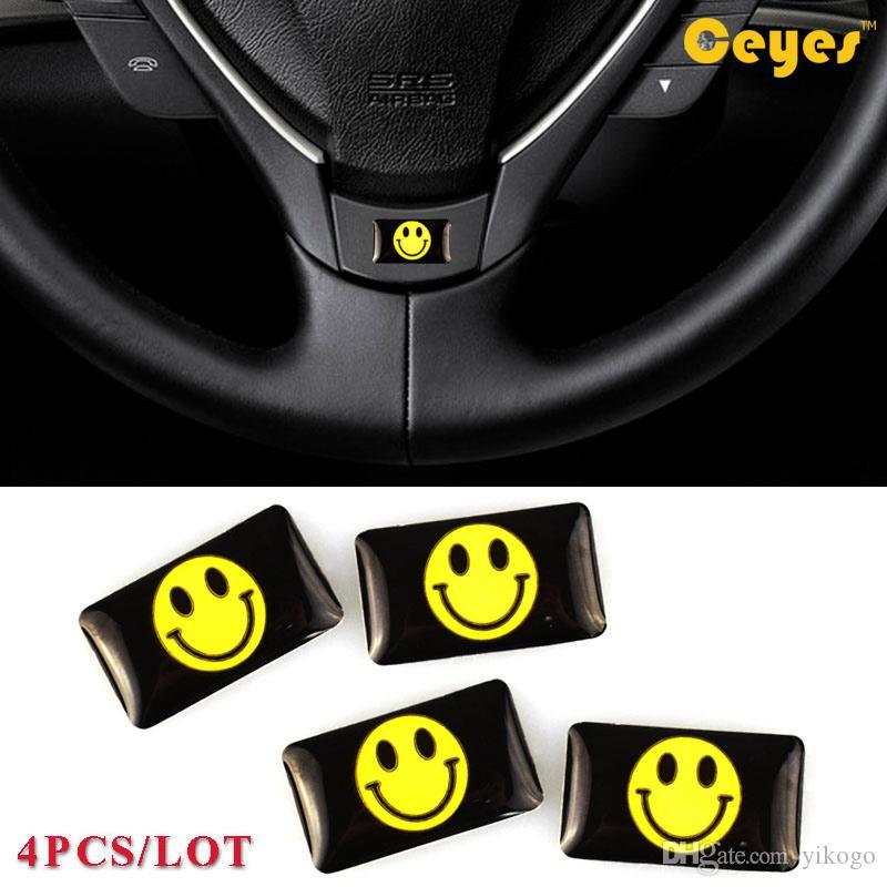 السيارات الايبوكسي سيارة شعار ملصق لطيف ابتسامة شعار البلاستيك قطرة ملصقات الغراء ملصقات لاصقة شخصية سيارة التصميم 4 قطعة / الوحدة