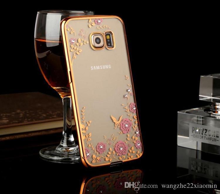 Novo estilo ouro galvanizado tpu flor casos de jardim para samsung s6 s6 borda glitter bling diamante ultra fino protetor capa case