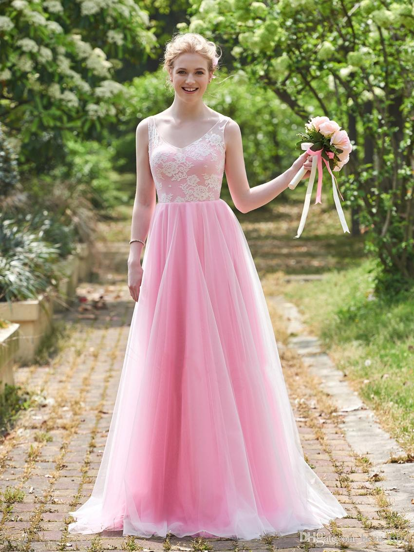 Lovely blush pink bridesmaid dresses 2 styles floor length v neck lovely blush pink bridesmaid dresses 2 styles floor length v neck a line lace tulle bridesmaid ombrellifo Images