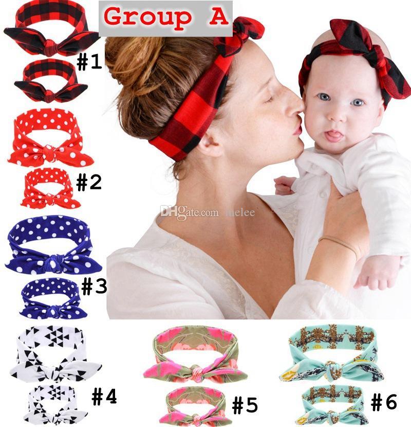 6styles 엄마 베이비 스팟 스타일 토끼 귀 머리띠 세트 귀여운 머리 장식품 스트레치 매듭 크로스 활 머리띠 / set