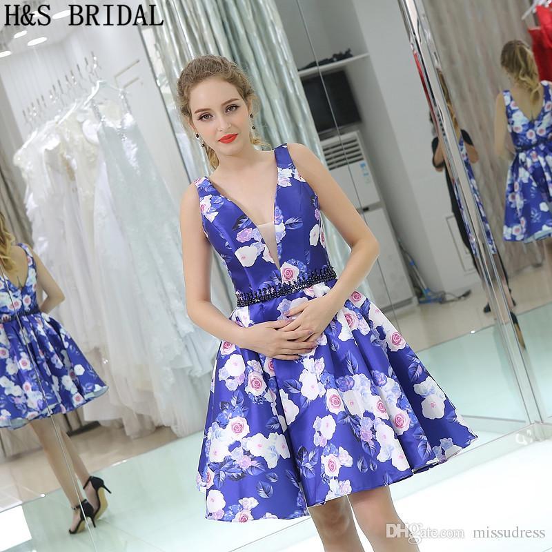 Blue Floral Print Girls 2017 Abiti da homecoming Foto di modello reale V Neck Short Party Dress Cocktail B041